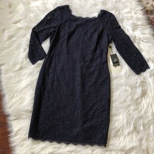 Adrianna Papell Navy Lace Long Sleeve Fitted Dress